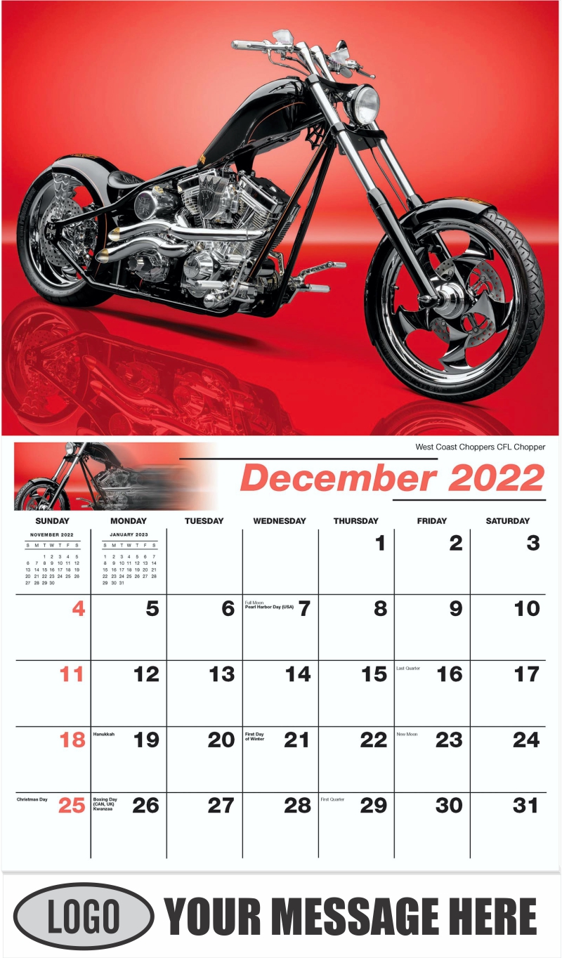 West Coast Choppers CFL Chopper - December 2022 - Motorcycle Mania 2022 Promotional Calendar