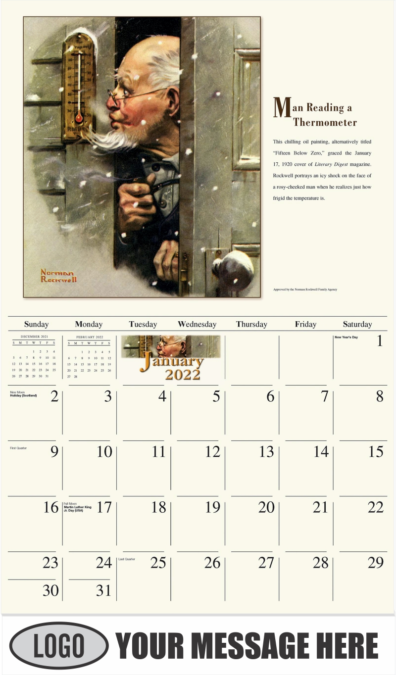 Man Reading Thermometer - January - Norman Rockwell - Memorable Images 2022 Promotional Calendar