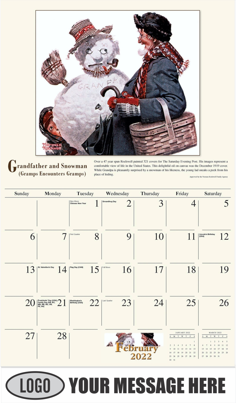 Grandfather and Snowman - February - Norman Rockwell - Memorable Images 2022 Promotional Calendar
