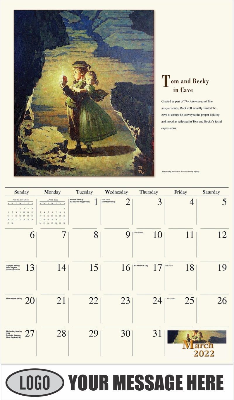 Tom and Becky in Cave - March - Norman Rockwell - Memorable Images 2022 Promotional Calendar