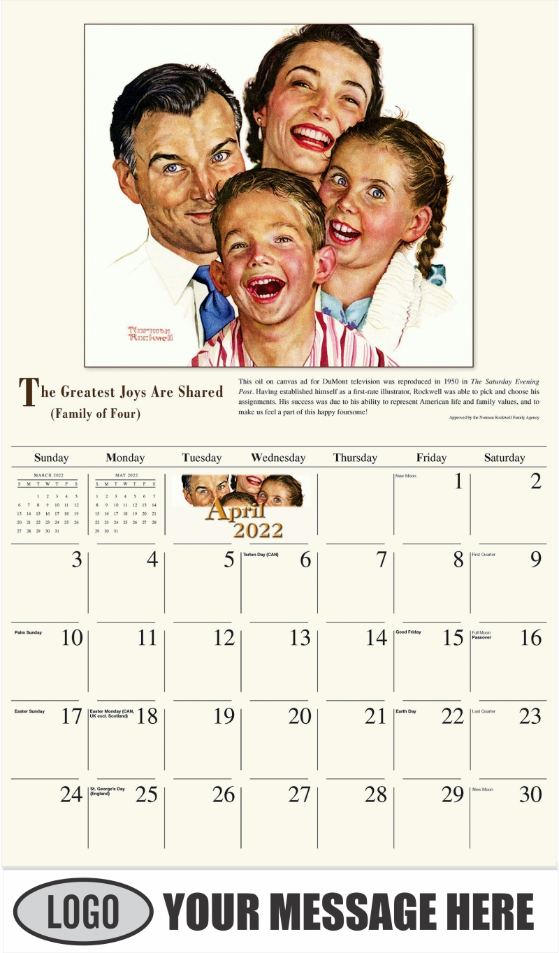 The Greatest Joys are Sharred - April - Norman Rockwell - Memorable Images 2022 Promotional Calendar