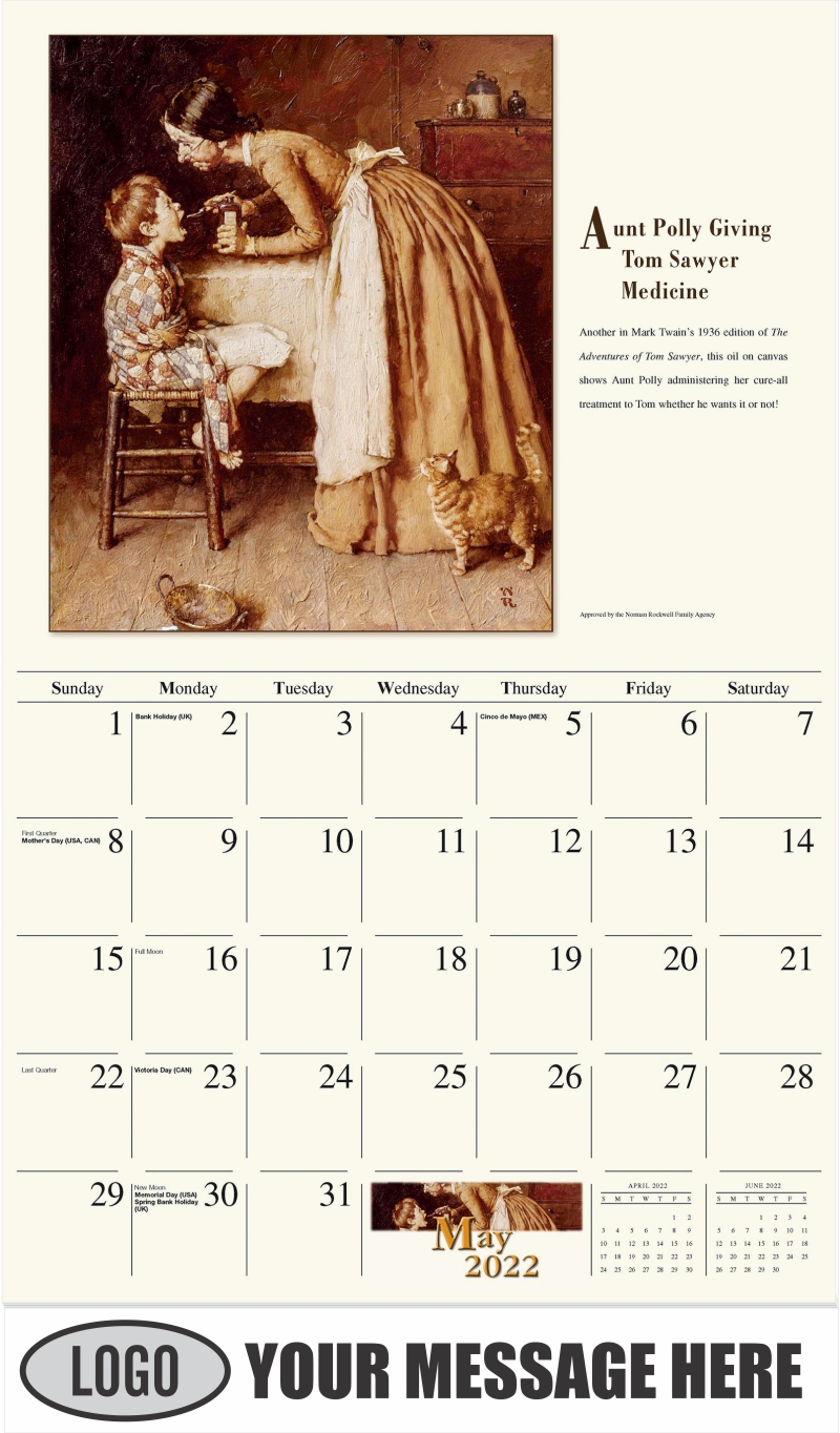Aunt Polly Giving Tom Sawyer Medicine - May - Norman Rockwell - Memorable Images 2022 Promotional Calendar