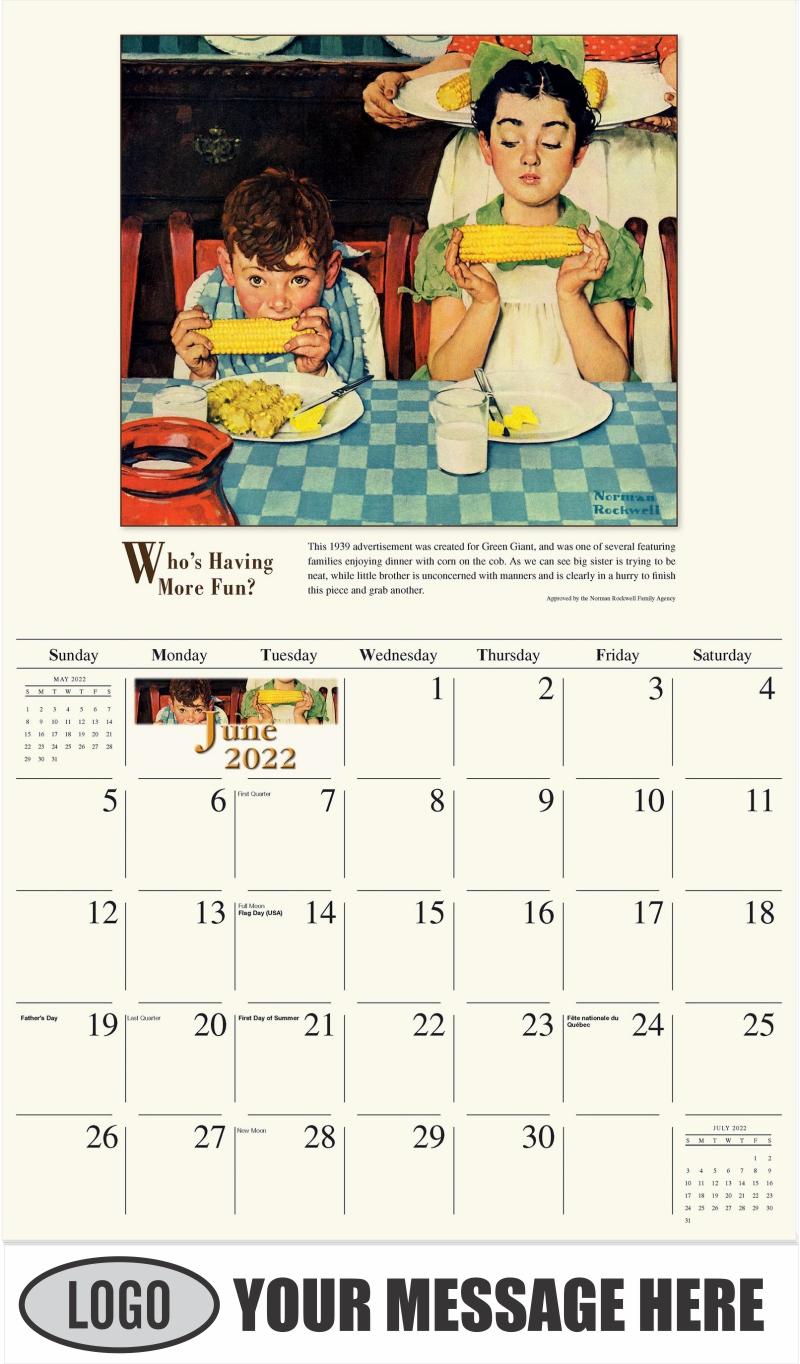 Who's Having More Fun - June - Norman Rockwell - Memorable Images 2022 Promotional Calendar