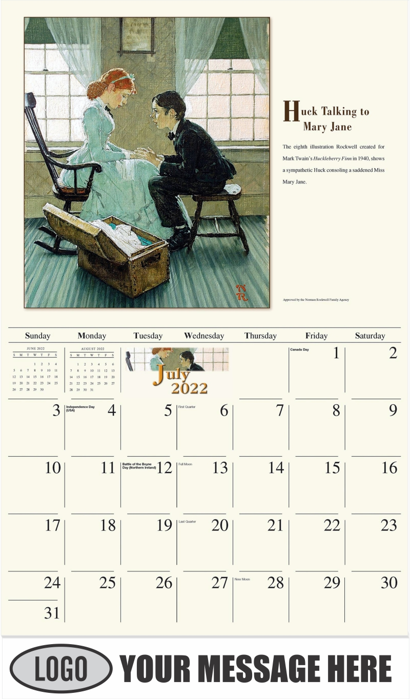 Huck Finn Treading a Needle - July - Norman Rockwell - Memorable Images 2022 Promotional Calendar