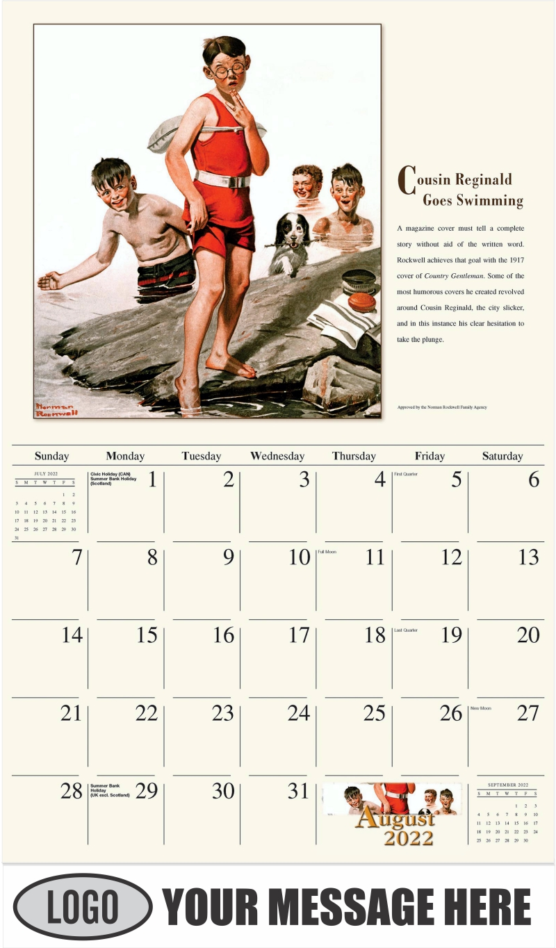 Cousin Reginald Goes Swimming - August - Norman Rockwell - Memorable Images 2022 Promotional Calendar