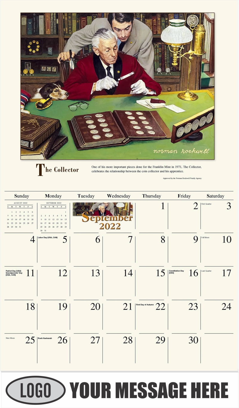 The Collector - September - Norman Rockwell - Memorable Images 2022 Promotional Calendar