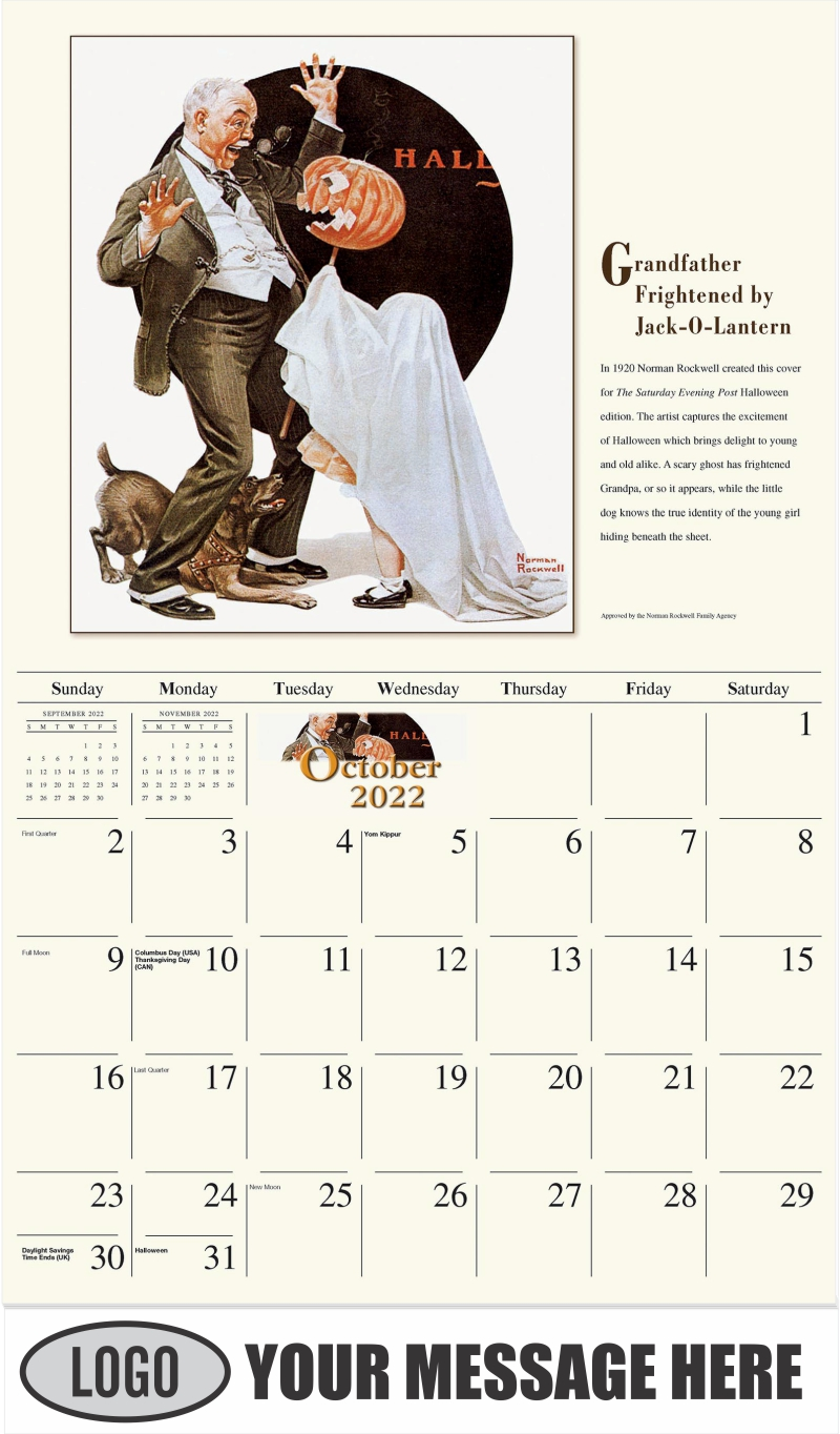 Grandfather Frightened by Jack-O-Lantern - October - Norman Rockwell - Memorable Images 2022 Promotional Calendar