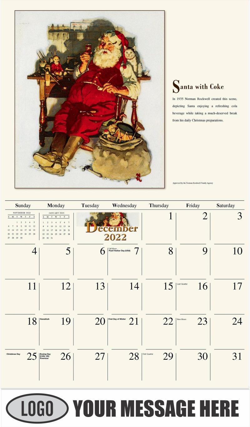 Santa with Coke - December 2022 - Norman Rockwell - Memorable Images 2022 Promotional Calendar