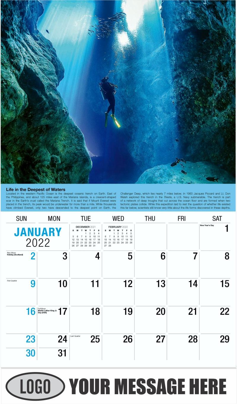 2022 Planet Earth Calendar - January - Planet Earth 2022 Promotional Calendar