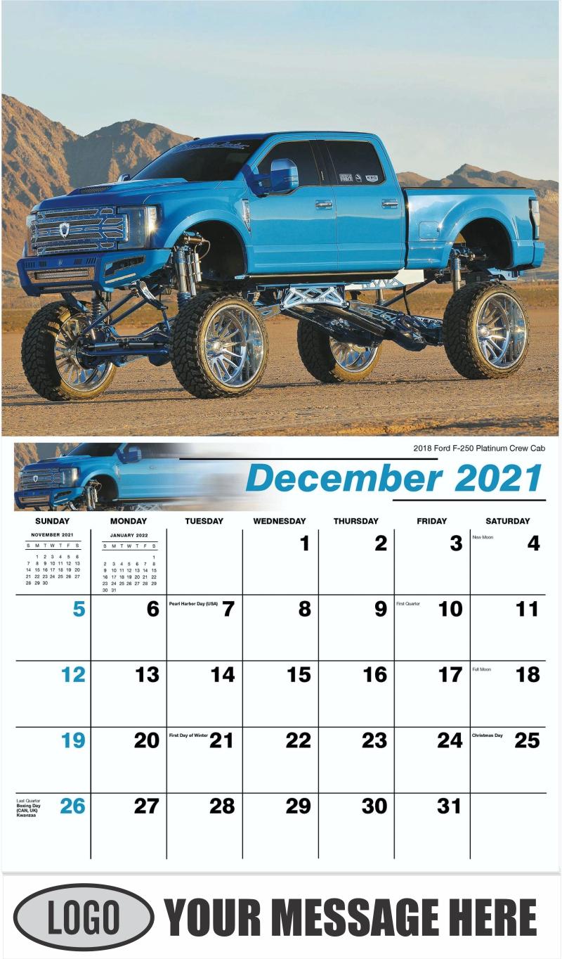 2018 Ford F-250 Platinum Crew Cab - December 2021 - Pumped Up Pickups 2022 Promotional Calendar