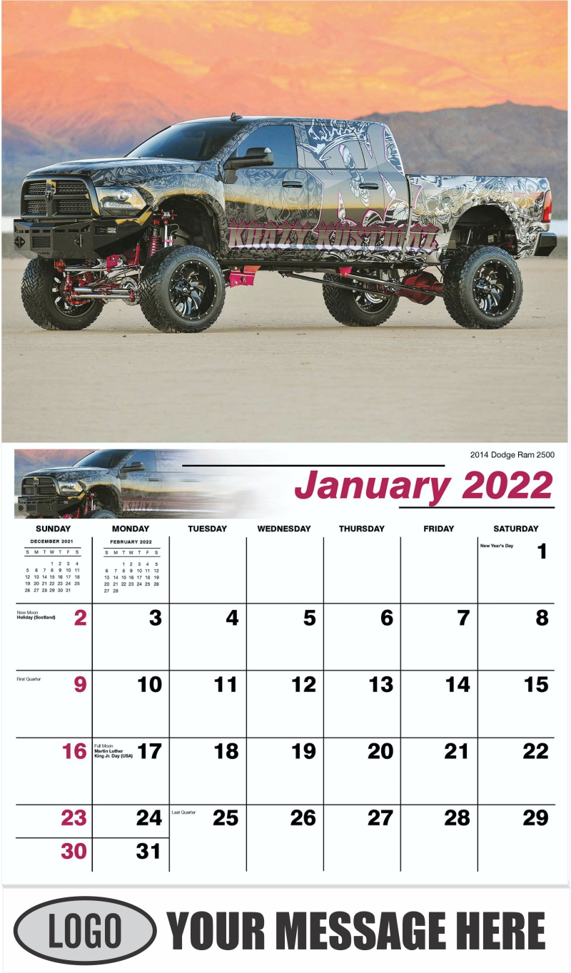 2014 Dodge Ram 2500 - January - Pumped Up Pickups 2022 Promotional Calendar