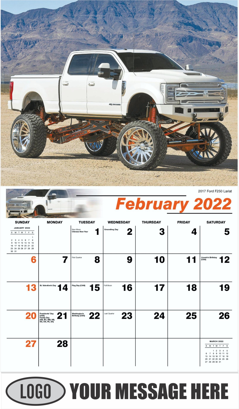 2017 Ford F- 250 Lariat - February - Pumped Up Pickups 2022 Promotional Calendar