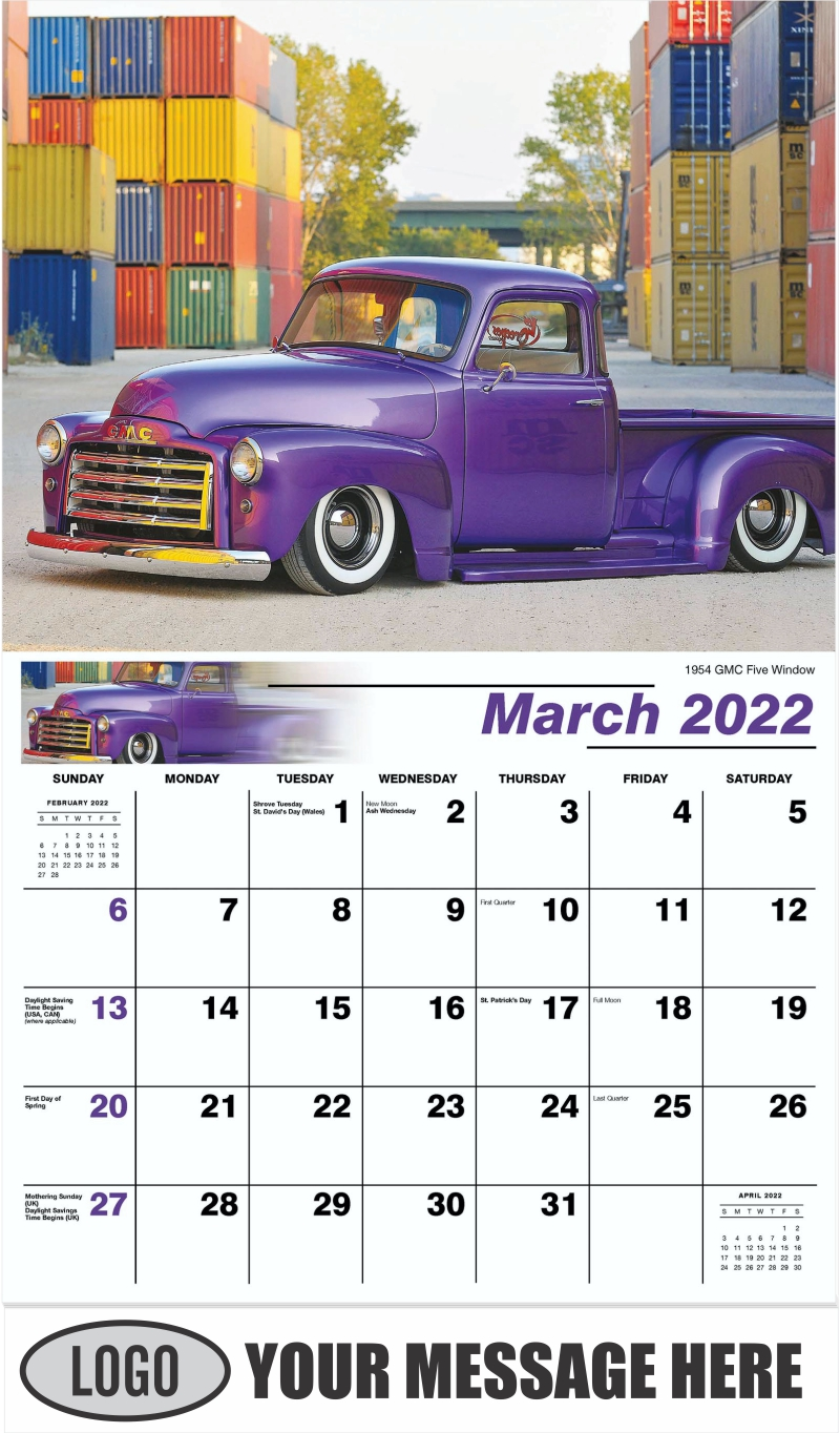 1954 GMC Five Window - March - Pumped Up Pickups 2022 Promotional Calendar