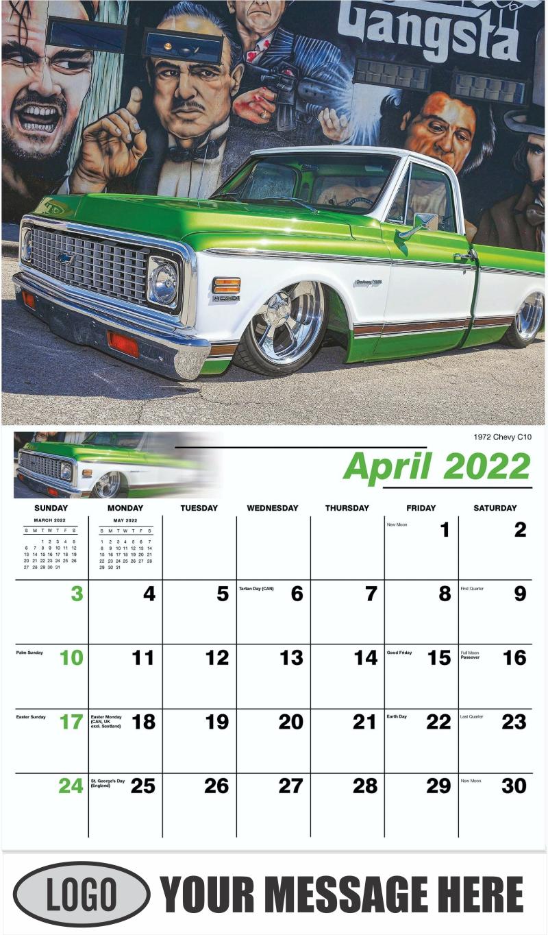 1972 Chevy C10 - April - Pumped Up Pickups 2022 Promotional Calendar