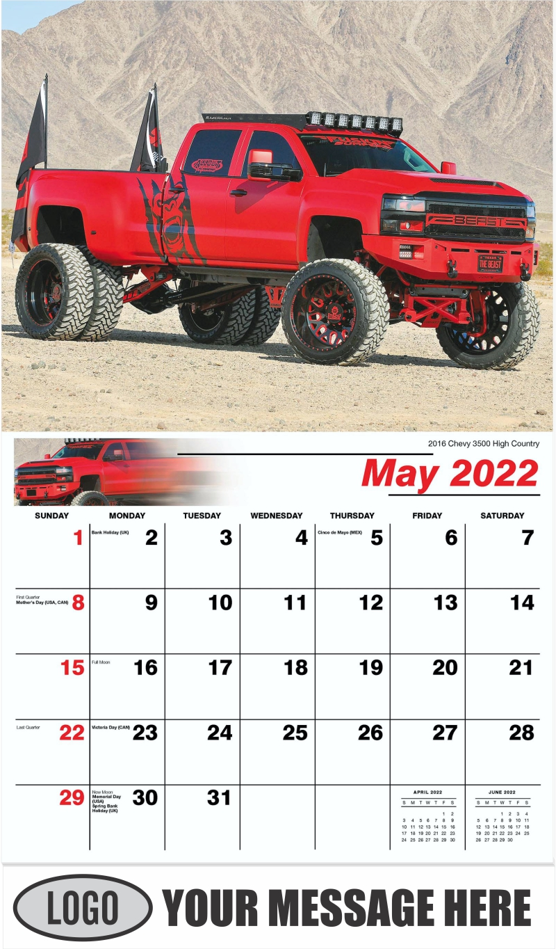 2016 Chevy 3500 High Country - May - Pumped Up Pickups 2022 Promotional Calendar