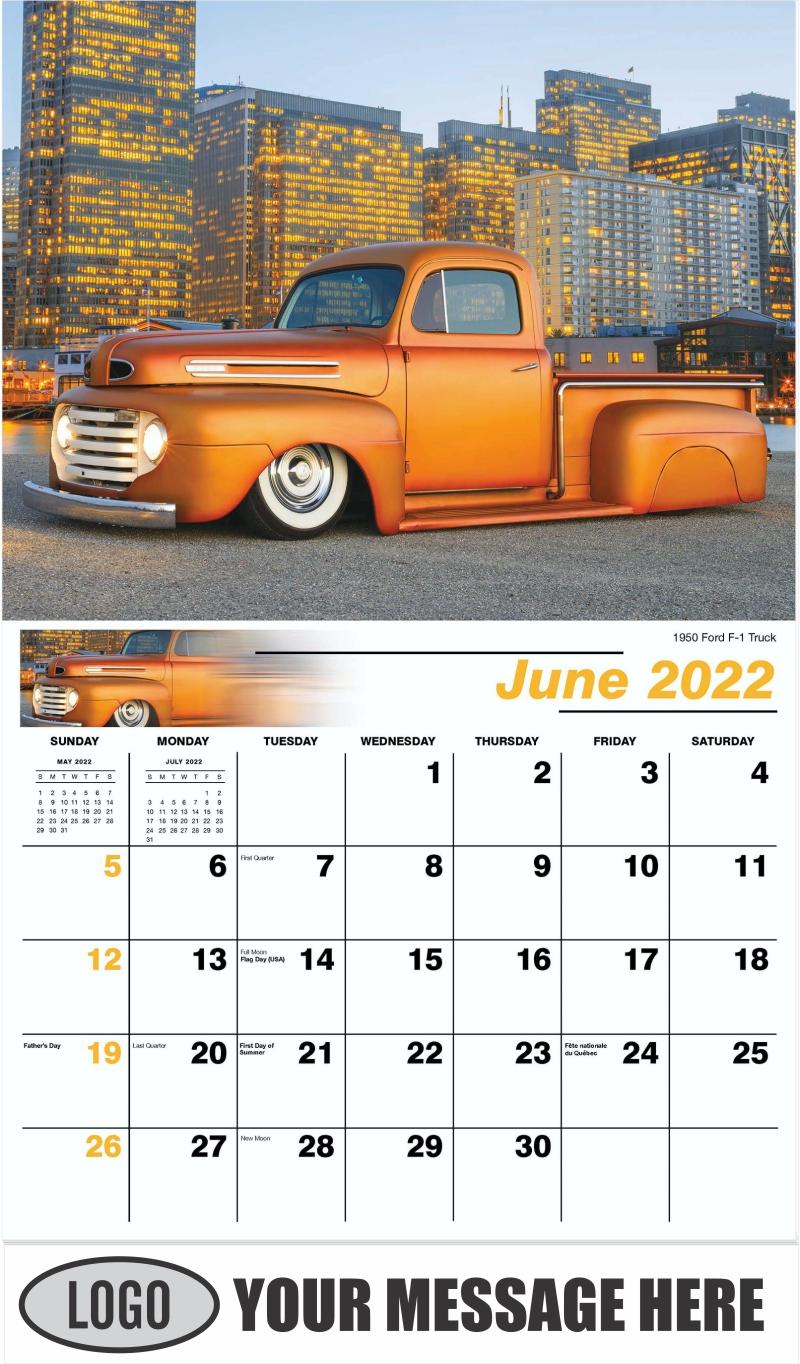 1950 Ford F-1 Truck - June - Pumped Up Pickups 2022 Promotional Calendar