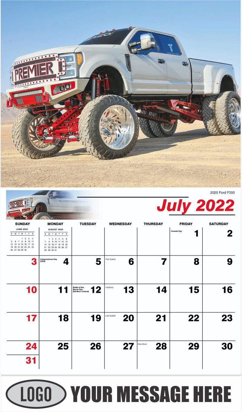 2020 Ford F-350 - July - Pumped Up Pickups 2022 Promotional Calendar