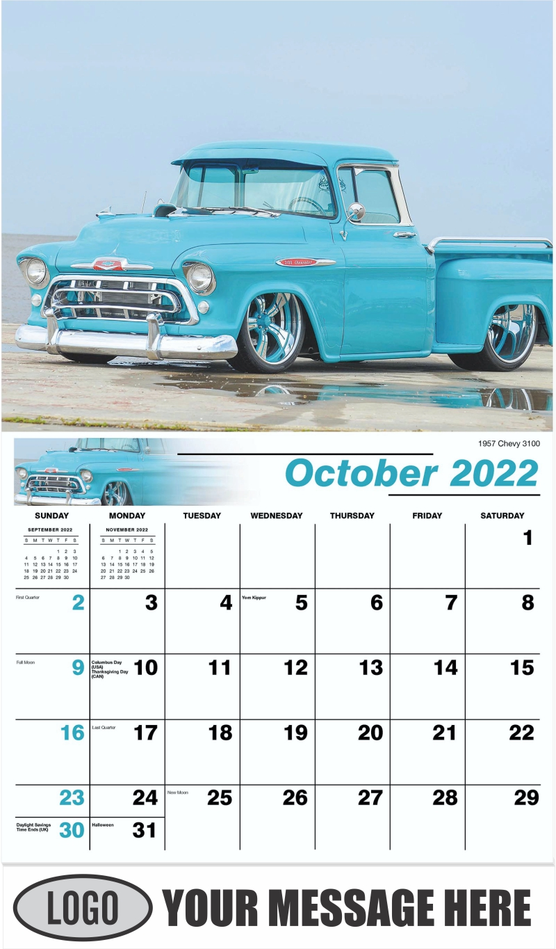 1957 Chevy 3100 - October - Pumped Up Pickups 2022 Promotional Calendar