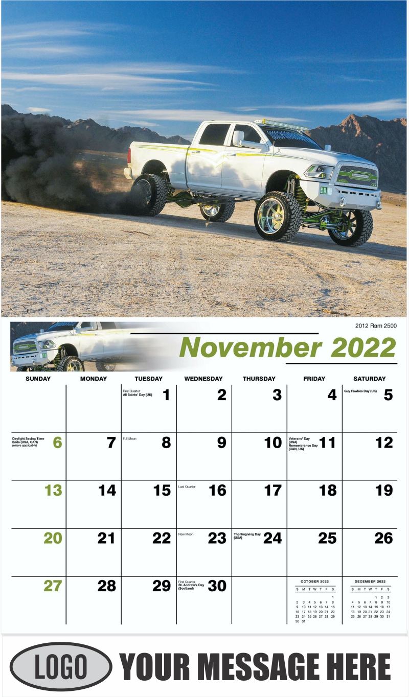 2012 Ram 2500 - November - Pumped Up Pickups 2022 Promotional Calendar
