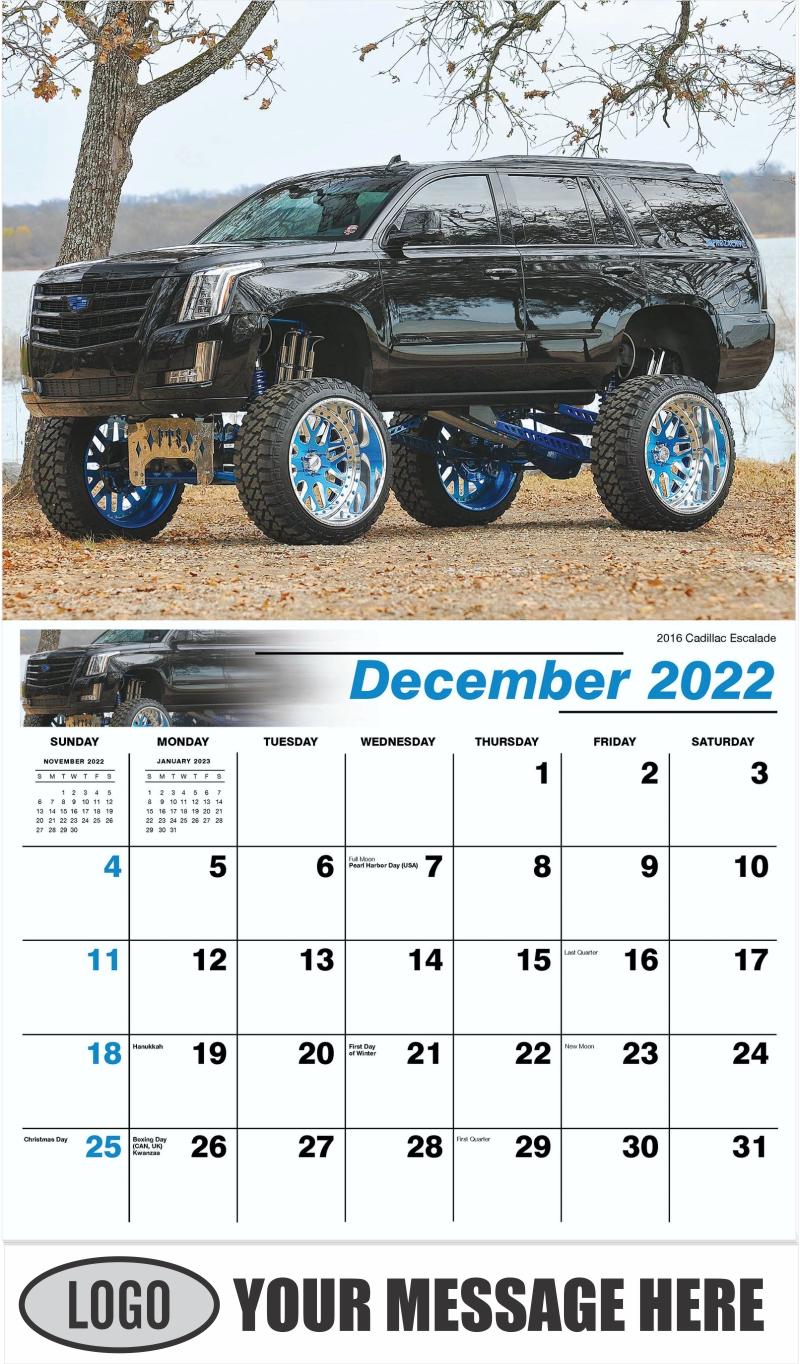 2016 Cadillac Escalade - December 2022 - Pumped Up Pickups 2022 Promotional Calendar