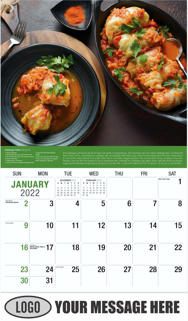 Stuffed Cabbage Rolls - January - Recipes 2022 Promotional Calendar
