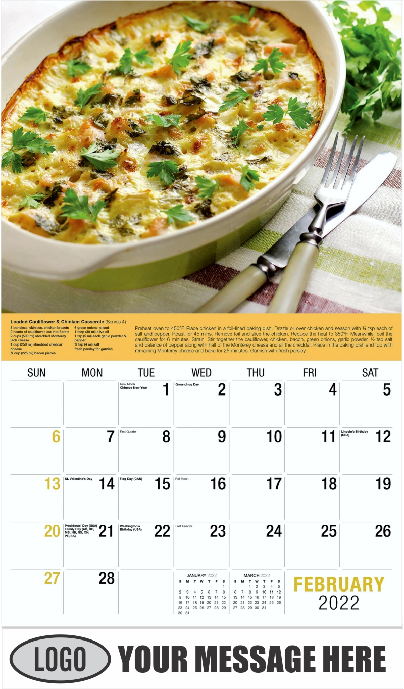 Chicken Breast and Cauliflower Casserole - February - Recipes 2022 Promotional Calendar