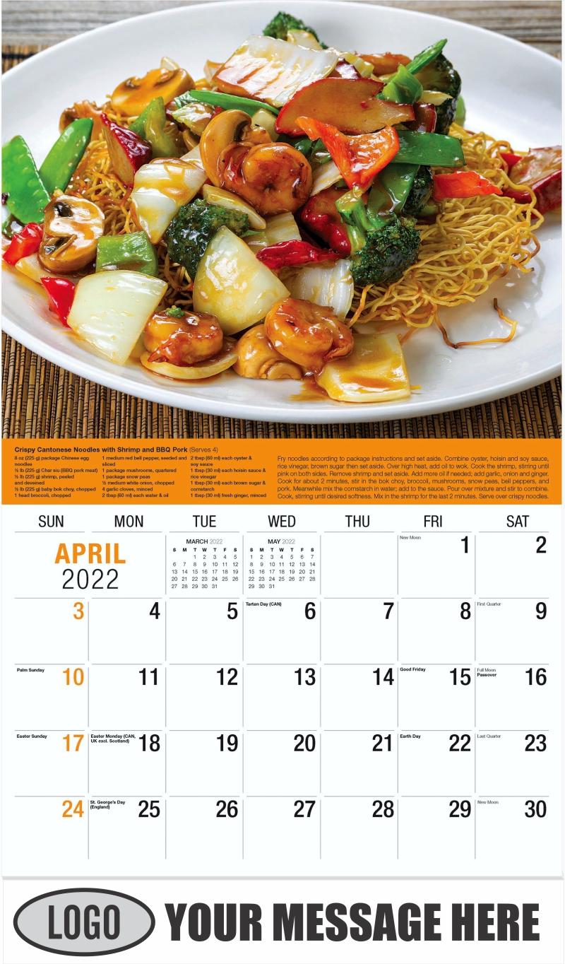 Fried Noodle with Shrimp, Pork, Vegetables - April - Recipes 2022 Promotional Calendar