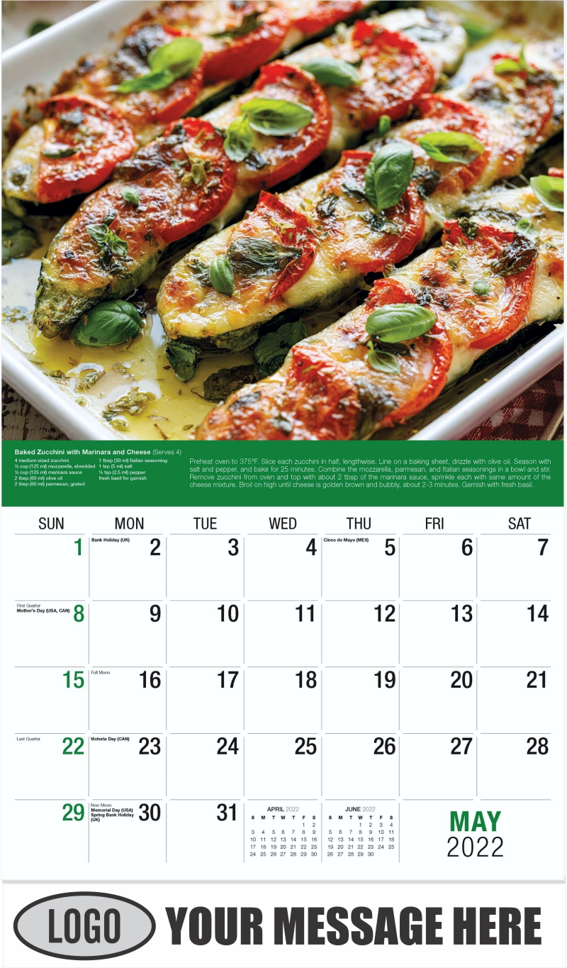 Roasted Zucchini - May - Recipes 2022 Promotional Calendar