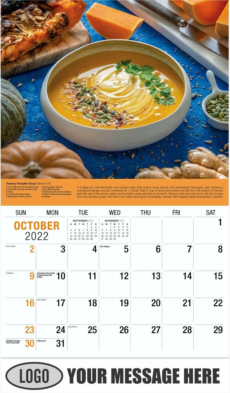 Autumn Pumpkin Soup - October - Recipes 2022 Promotional Calendar