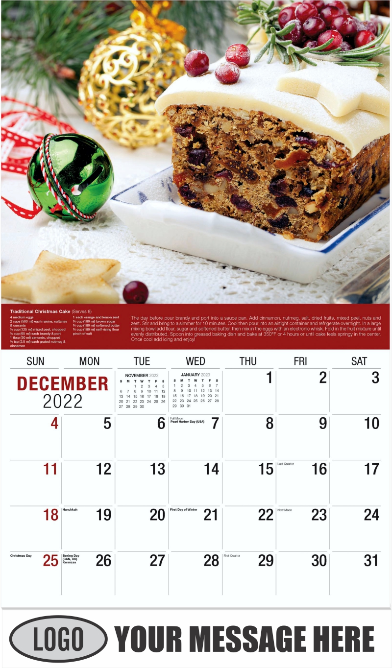 Traditional Christmas Fruit Cake pudding - December 2022 - Recipes 2022 Promotional Calendar