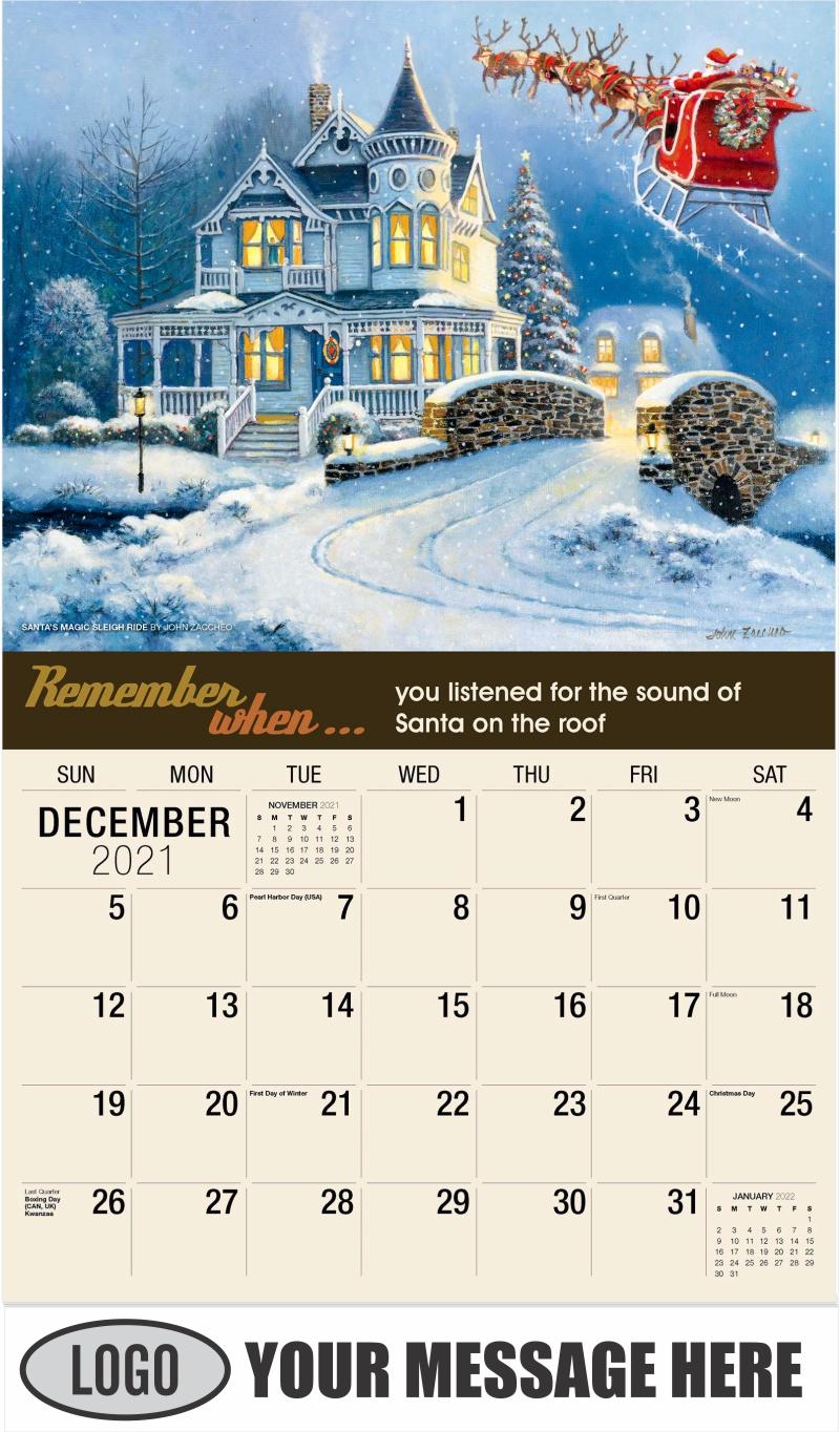 Santa's Magic Sleigh Ride By John Zaccheo - December 2021 - Remember When 2022 Promotional Calendar