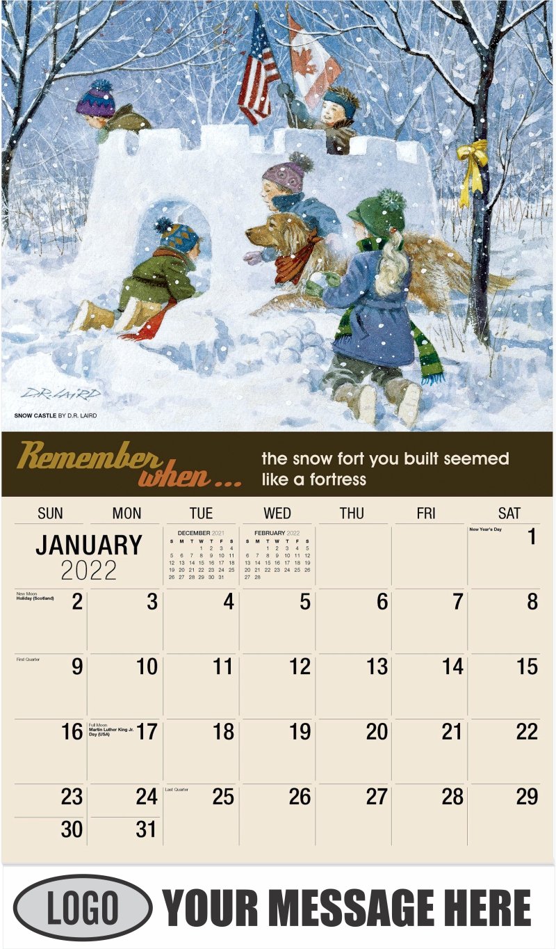 Snow Castle by D.R. Laird - January - Remember When 2022 Promotional Calendar