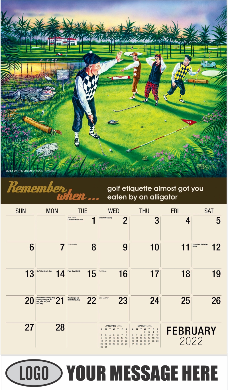 Quiet on the Green by Robert Andrea - February - Remember When 2022 Promotional Calendar