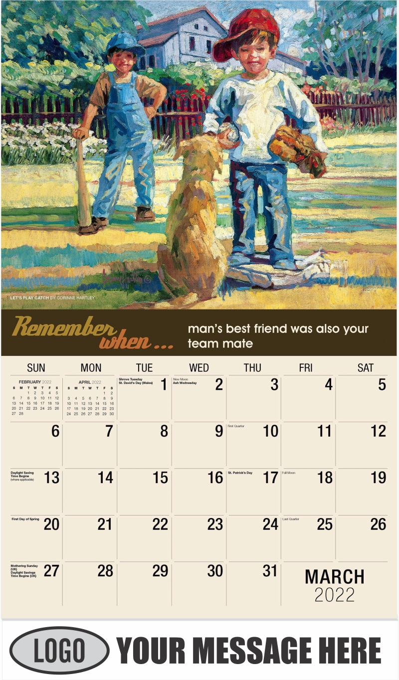 Let's Play Catch by Corinne Hartley - March - Remember When 2022 Promotional Calendar