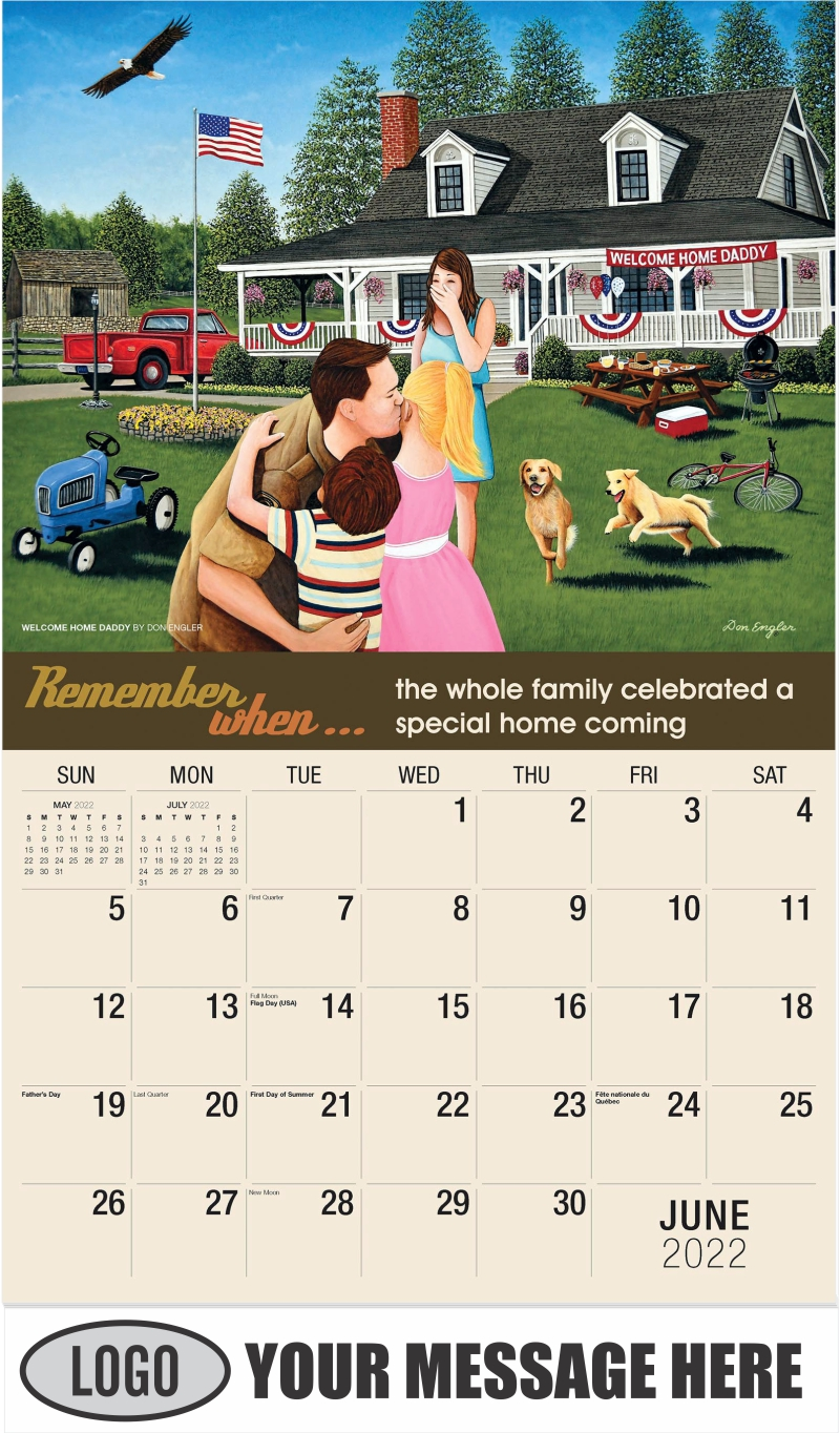 Welcome Home Daddy by Don Engler - June - Remember When 2022 Promotional Calendar