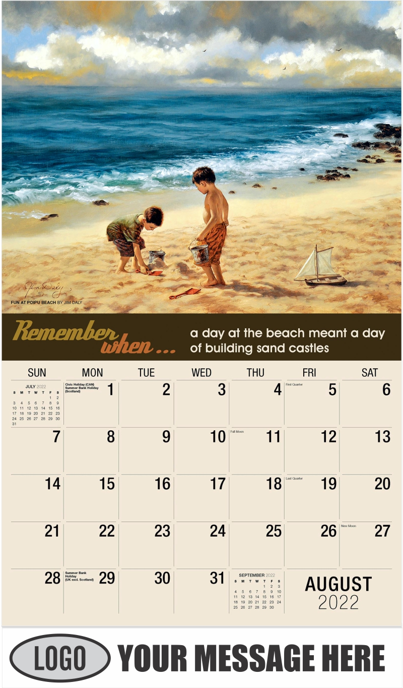 Fun at Poipu Beach by Jim Daly - August - Remember When 2022 Promotional Calendar