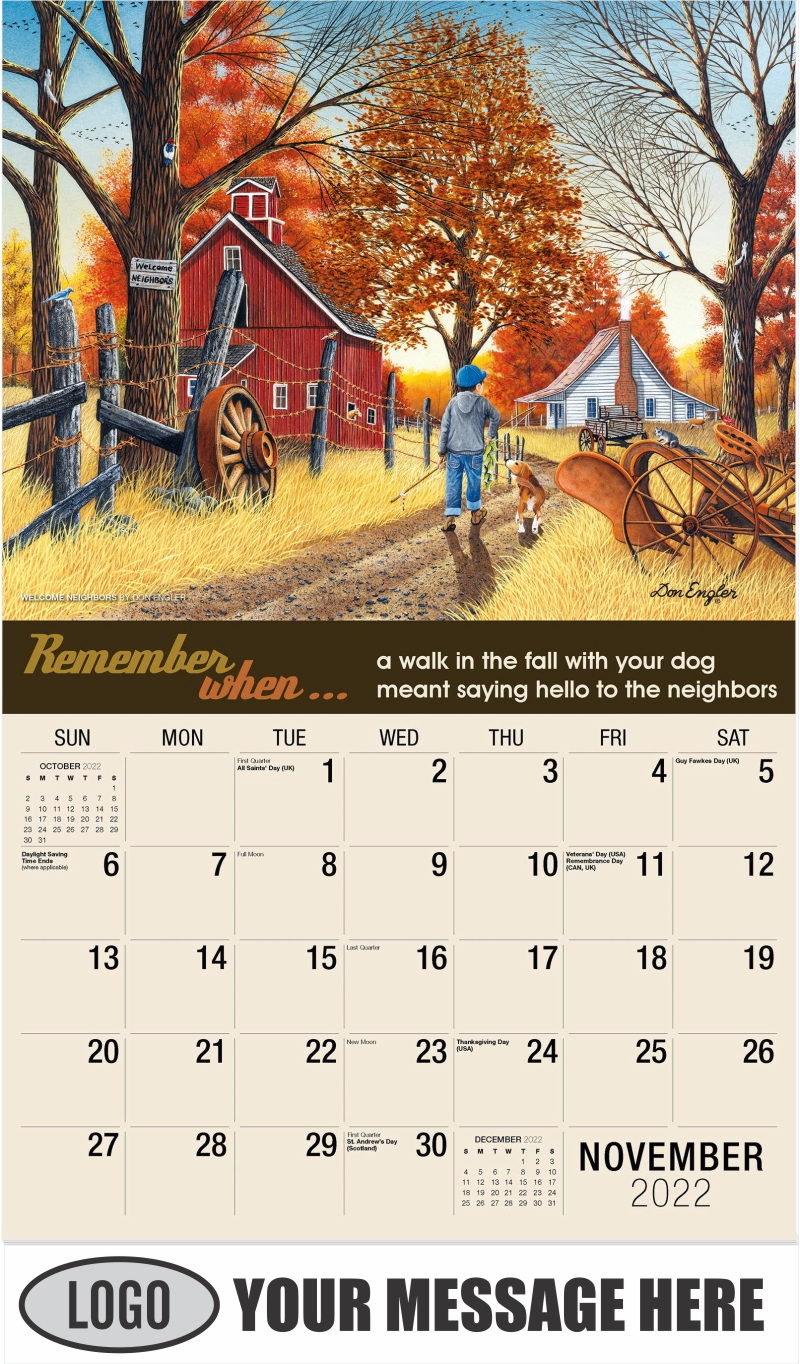Welcome Neighbors by Don Engler - November - Remember When 2022 Promotional Calendar