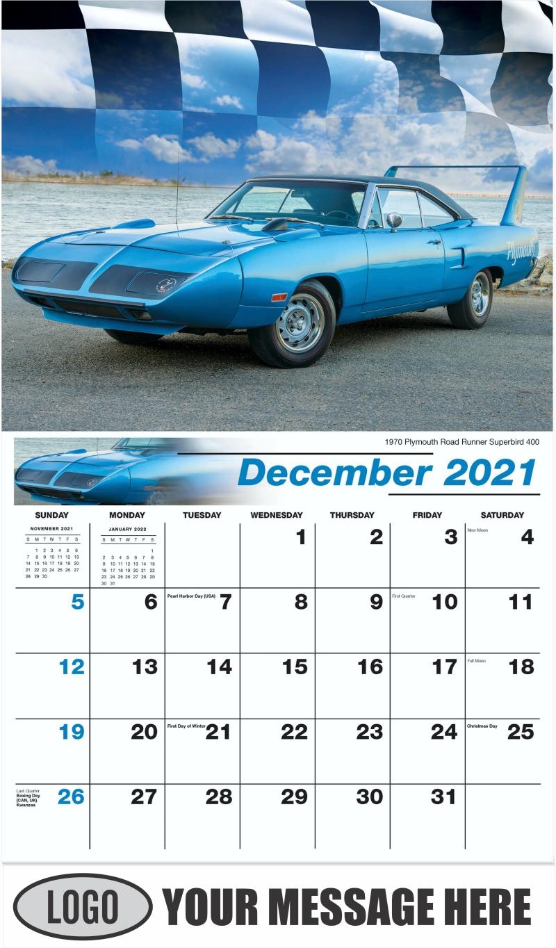 1970 Plymouth Road Runner Superbird 400 - December 2021 - Road Warriors 2022 Promotional Calendar