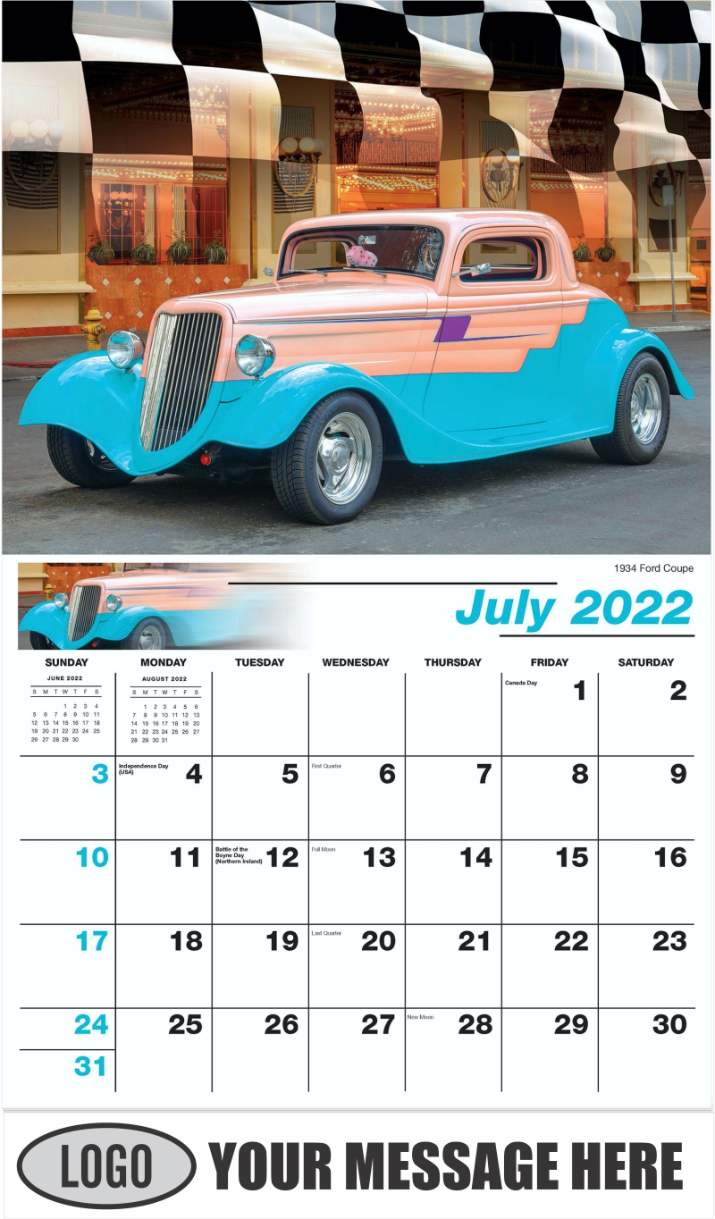 1934 Ford Coupe Hot Rod - July - Road Warriors 2022 Promotional Calendar