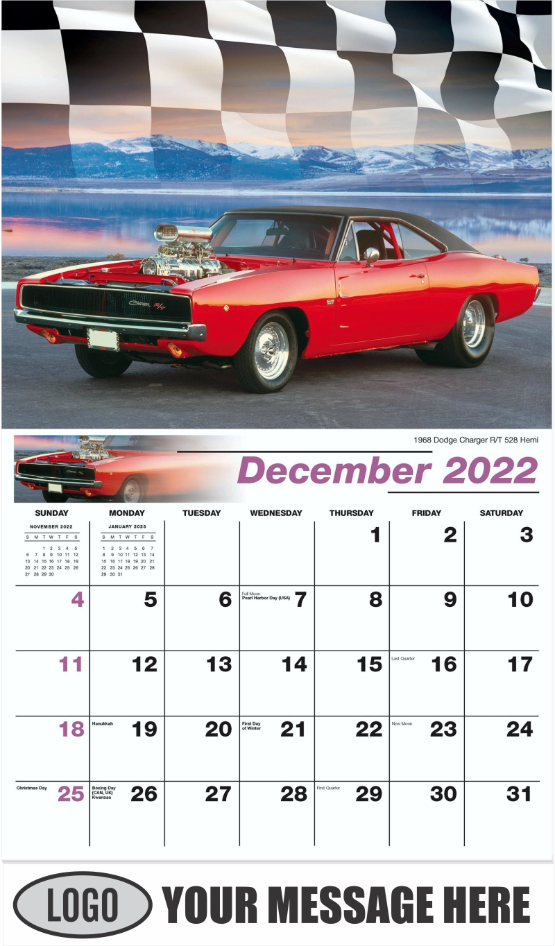 1968 Dodge Charger R/T 528 Hemi - December 2022 - Road Warriors 2022 Promotional Calendar