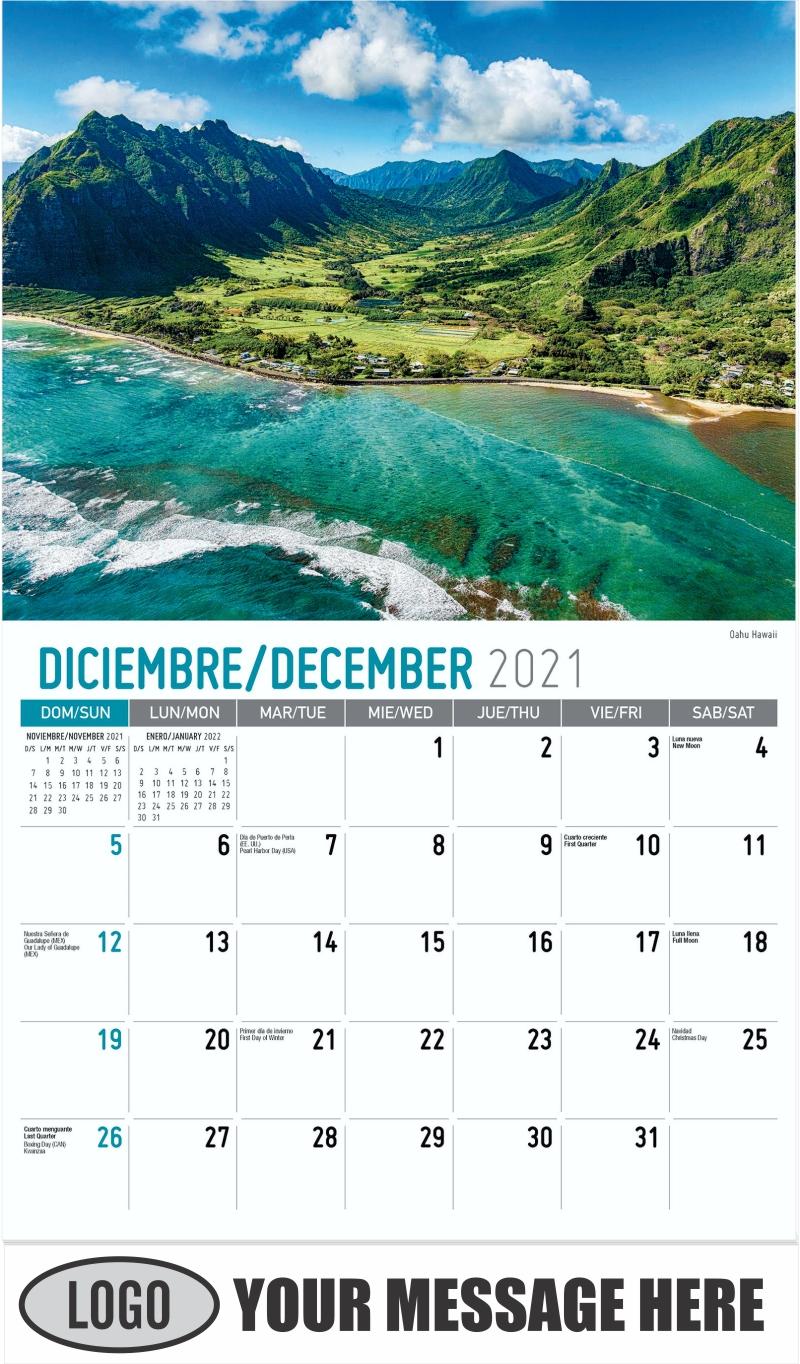 Faro de Cape Neddick, York, Maine  --  Cape Neddick Lighthouse, York, Maine - December 2021 - Scenes of America (Spanish-English bilingual) 2022 Promotional Calendar