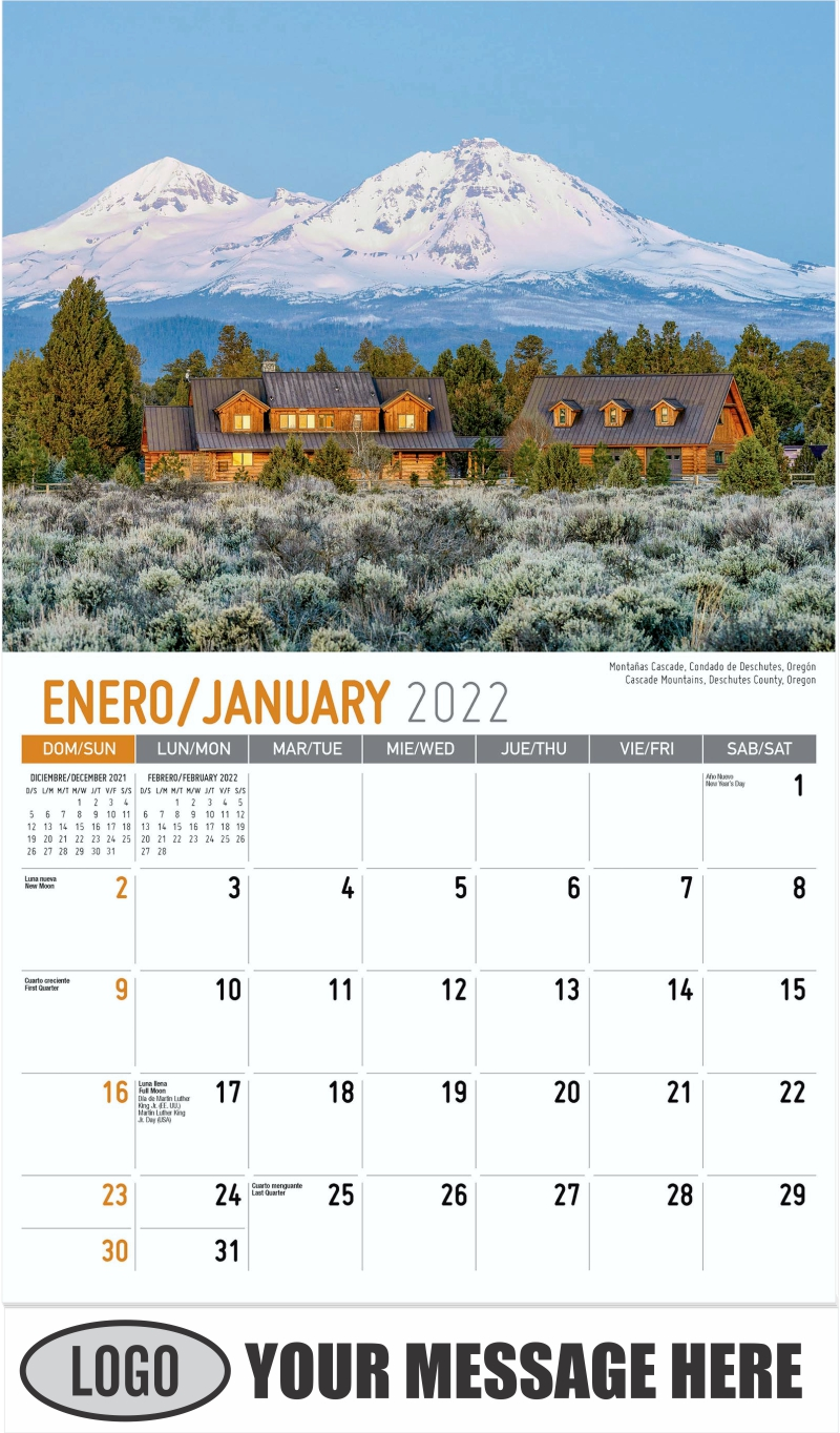 Dream Lake, Rocky Mountain National Park, Colorado  --  Lago de Ensueño,Parque nacional de las Montañas Rocosas, Colorado - January - Scenes of America (Spanish-English bilingual) 2022 Promotional Calendar