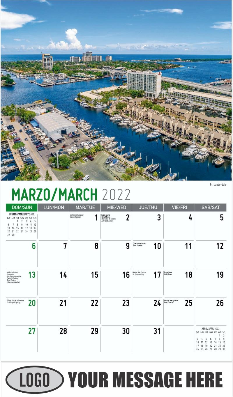 Ft. Lauderdale - March - Scenes of America (Spanish-English bilingual) 2022 Promotional Calendar