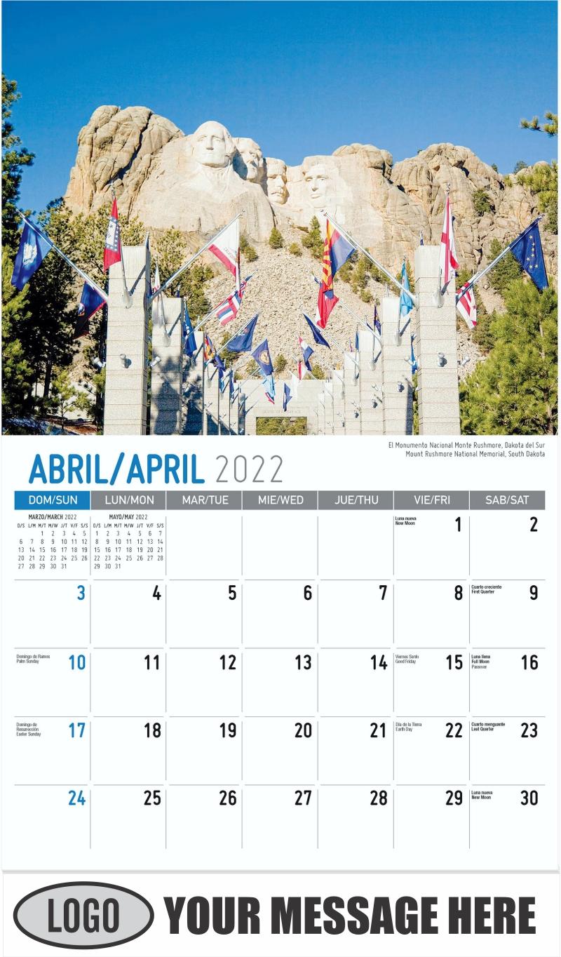 Mount Rushmore National Memorial, South Dakota El Monumento Nacional Monte Rushmore, Dakota del Sur - April - Scenes of America (Spanish-English bilingual) 2022 Promotional Calendar