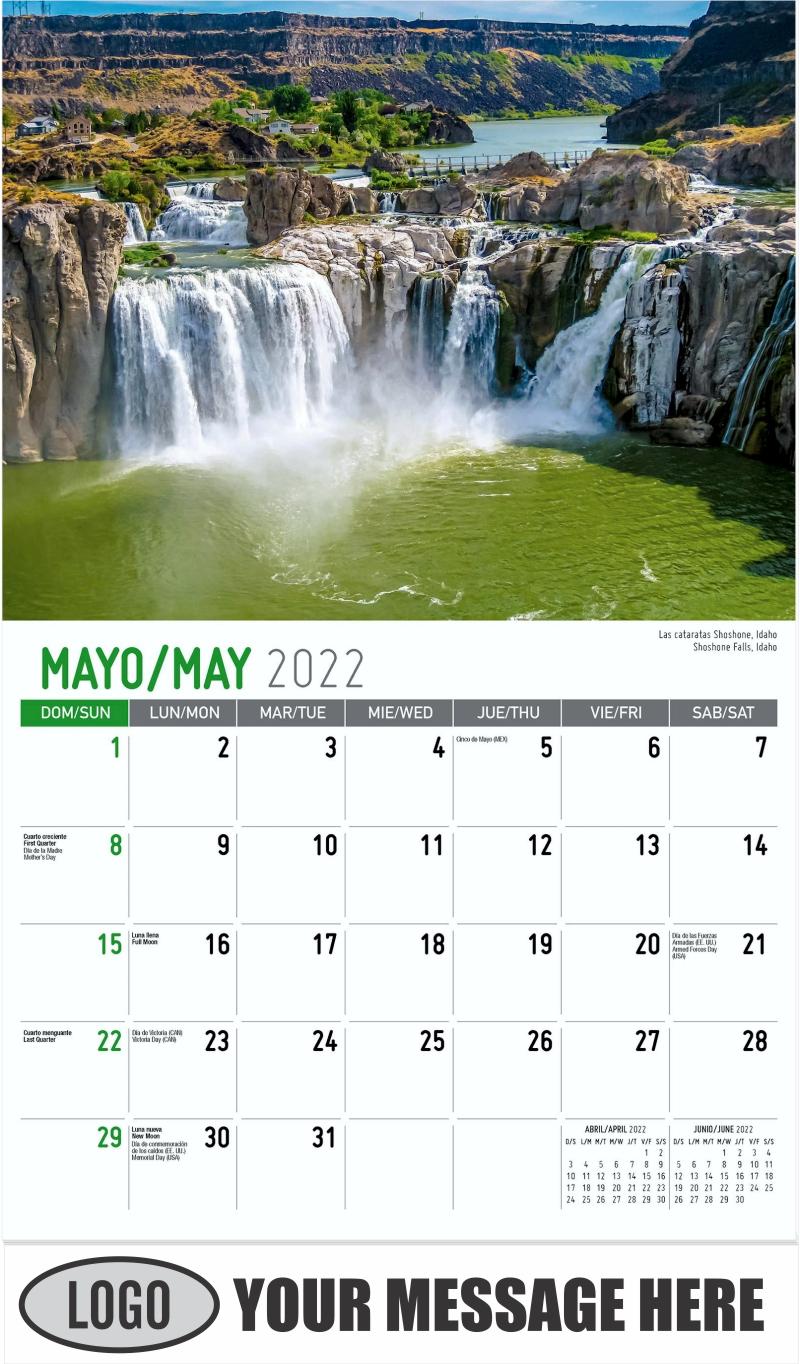 Glacier National Park, Montana  --  Parque nacional de los Glaciares, Montana - May - Scenes of America (Spanish-English bilingual) 2022 Promotional Calendar
