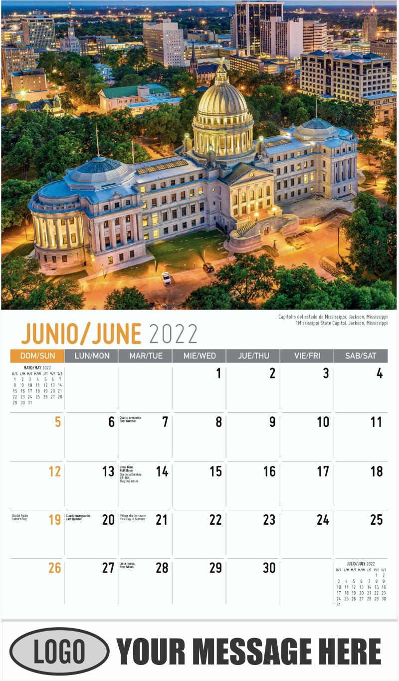 Mississippi State Capitol, Jackson, Mississippi Capitolio del estado de Mississippi, Jackson, Mississippi - June - Scenes of America (Spanish-English bilingual) 2022 Promotional Calendar