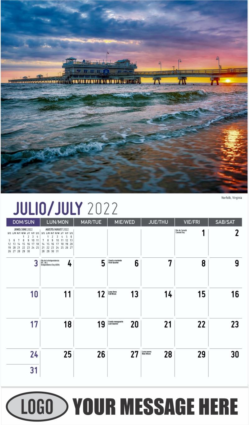 Norfolk, Virginia - July - Scenes of America (Spanish-English bilingual) 2022 Promotional Calendar