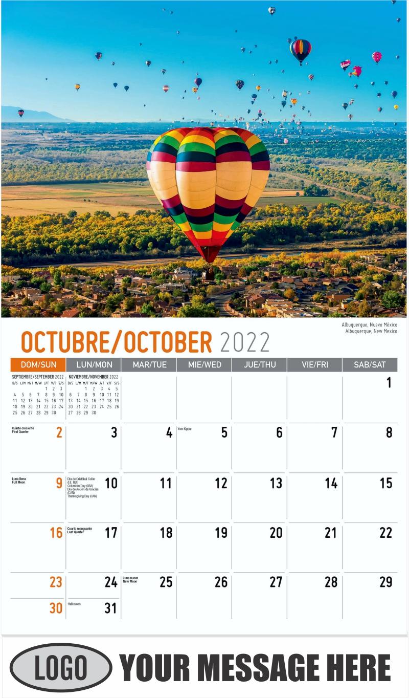 Albuquerque, New Mexico Albuquerque, Nuevo México - October - Scenes of America (Spanish-English bilingual) 2022 Promotional Calendar