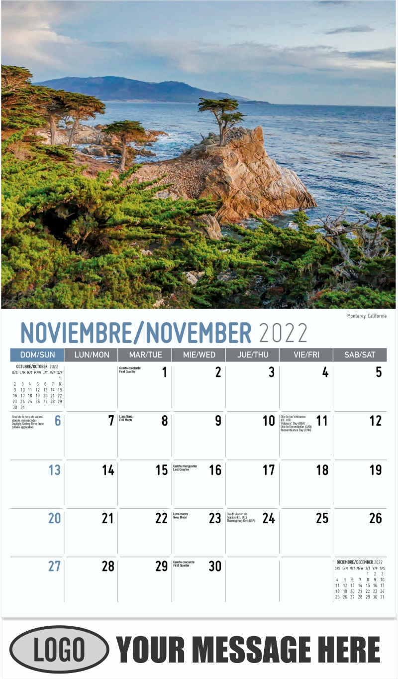 Monterey, California - November - Scenes of America (Spanish-English bilingual) 2022 Promotional Calendar