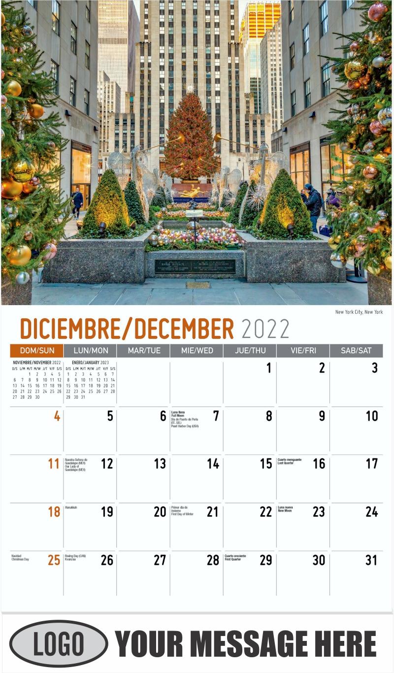 New York City, New York - December 2022 - Scenes of America (Spanish-English bilingual) 2022 Promotional Calendar